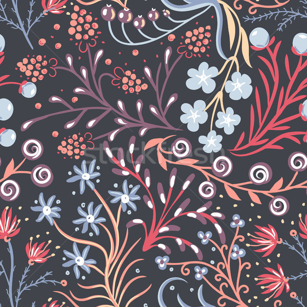 Floral seamless pattern. Hand drawn creative flower. Colorful artistic background with blossom. Abst Stock photo © user_10144511