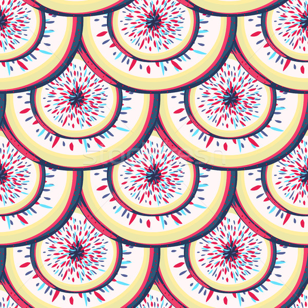 Abstract colorful seamless pattern with round shapes like scales. Creative repeating background. Wra Stock photo © user_10144511