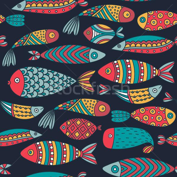Végtelen minta halfajok kézzel rajzolt világ színes művészi Stock fotó © user_10144511