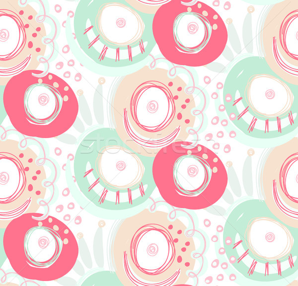 Vector seamless pattern with hand drawn abstract shapes, scribbles, spirales. Stains and spots of pa Stock photo © user_10144511