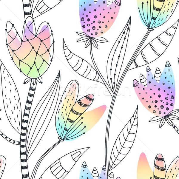 Virágmintás végtelen minta kézzel rajzolt absztrakt gradiens virágok Stock fotó © user_10144511