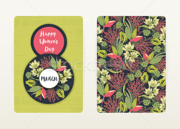 8 march. Happy Women's Day. Spring holiday. Card design with floral pattern. Creative hand drawn col Stock photo © user_10144511