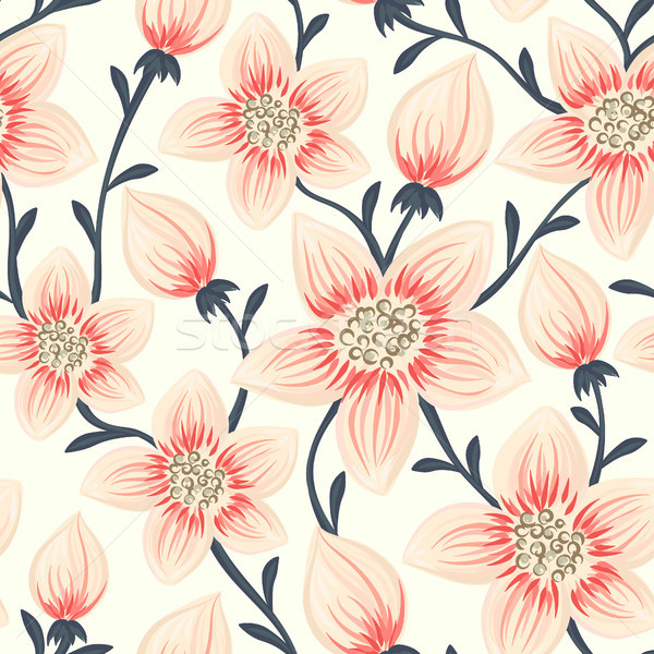 Stock photo: Floral seamless pattern. Hand drawn creative flowers. Colorful artistic background. Abstract herb