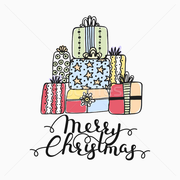 Stock photo: Hand drawn gifts isolated on white. Merry Christmas. Artistic background with presents and lettering