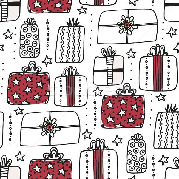 Végtelen minta kézzel rajzolt különböző ajándékdobozok aranyos terv Stock fotó © user_10144511