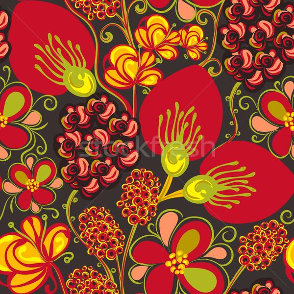 Virágmintás végtelen minta kézzel rajzolt kreatív virágok színes Stock fotó © user_10144511