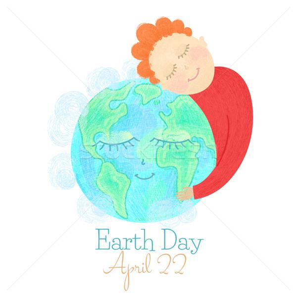 アースデー 男 抱擁 世界中 保存 惑星 ストックフォト © user_10144511