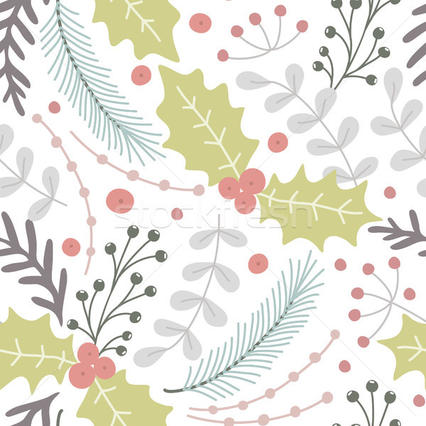 Floral seamless pattern. Hand drawn herbs. Merry Christmas. Winter holiday. Artistic background. Hol Stock photo © user_10144511