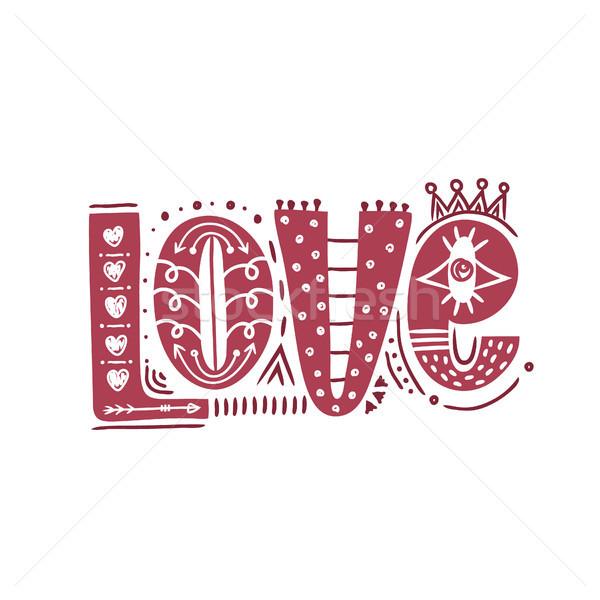 Amore felice san valentino stile doodle Foto d'archivio © user_10144511