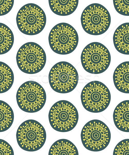 Floral seamless pattern. Hand drawn creative flower in round shape. Colorful artistic background. Ab Stock photo © user_10144511