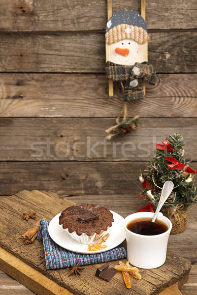 Christmas and New Year still life with chocolate cupcake Stock photo © user_11056481