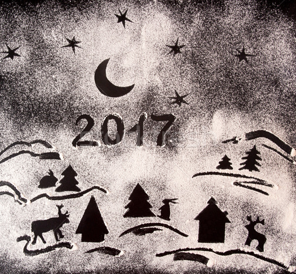 New Year holiday background with drawings with flour and text 20 Stock photo © user_11056481