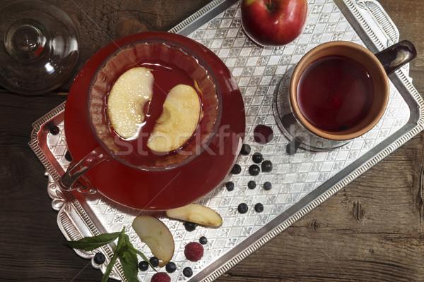 Verre céramique tasse plateau fruits d'été Photo stock © user_11056481