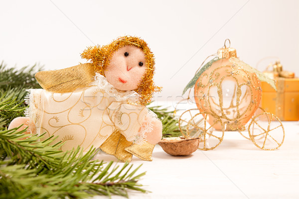 Christmas holiday decoration: angel and carriage on white backgr Stock photo © user_11056481