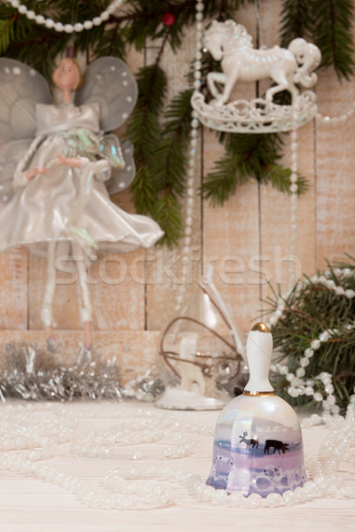 Christmas New Year holiday concept. Bell with deers, white garla Stock photo © user_11056481