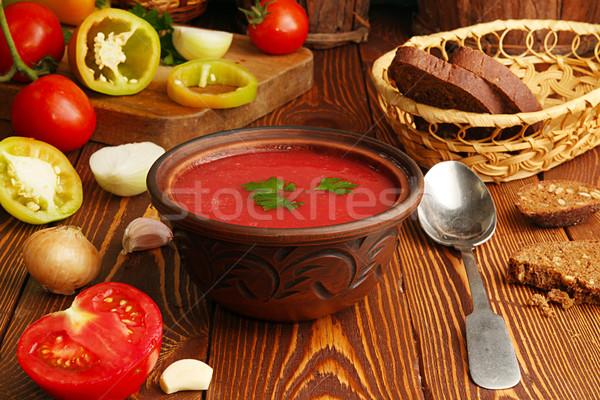 Stock fotó: Hozzávalók · főzés · paradicsomleves · tál · fa · asztal · csoport