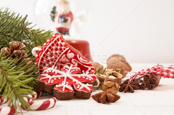 Noel zencefilli çörek kırmızı kurabiye çikolata yılbaşı Stok fotoğraf © user_11056481