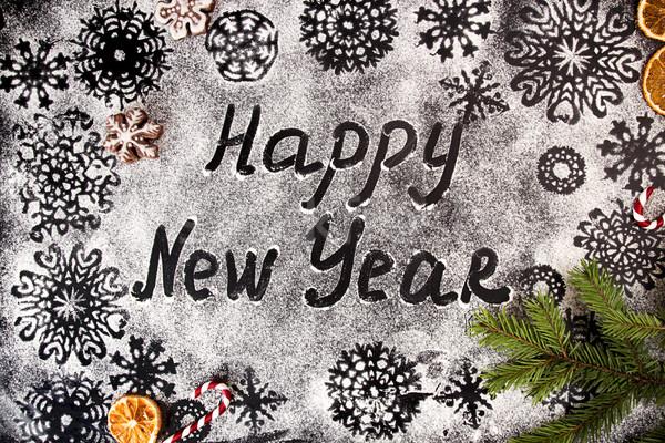 Nowy rok płatki śniegu tekst szczęśliwego nowego roku zwrócić wakacje Zdjęcia stock © user_11056481