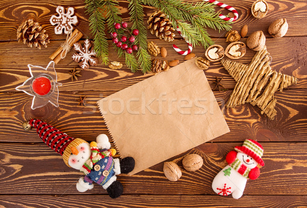 Christmas decorations. Set for greeting card  with copy space Stock photo © user_11056481