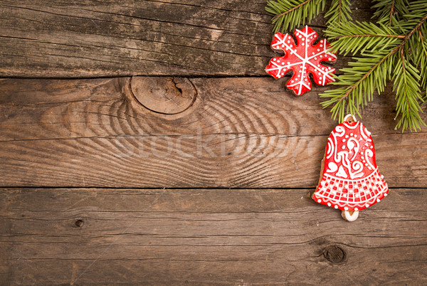 Christmas New Year holiday background with gingerbread cookies Stock photo © user_11056481