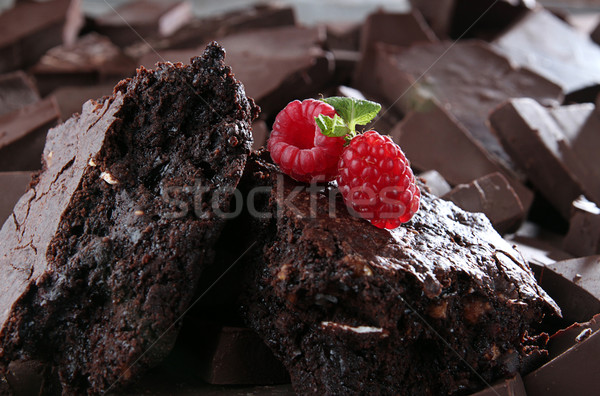 Chocolate brownie decorated with raspberry and mint Stock photo © user_11056481