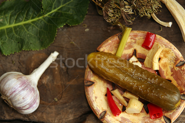 Canned pickled marinated cucumber Stock photo © user_11056481