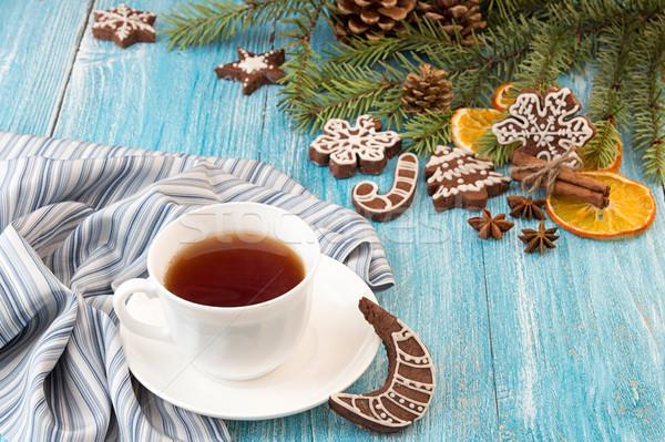 クリスマス ジンジャーブレッド クッキー 青 木製のテーブル アイシング ストックフォト © user_11056481