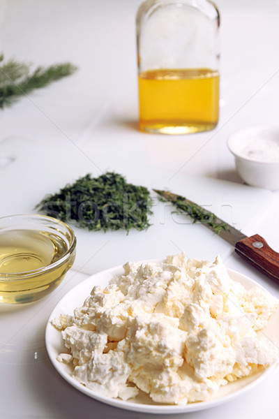 Appatizer. Cottage cheese with chopped fennel and olive oil. Stock photo © user_11056481