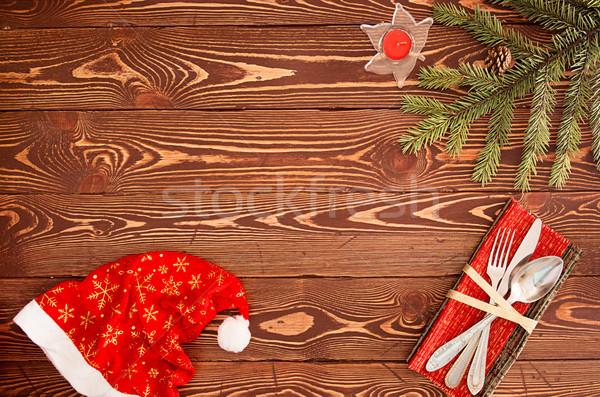 Carte de vœux nouvelle ans dîner argenterie bois Photo stock © user_11056481