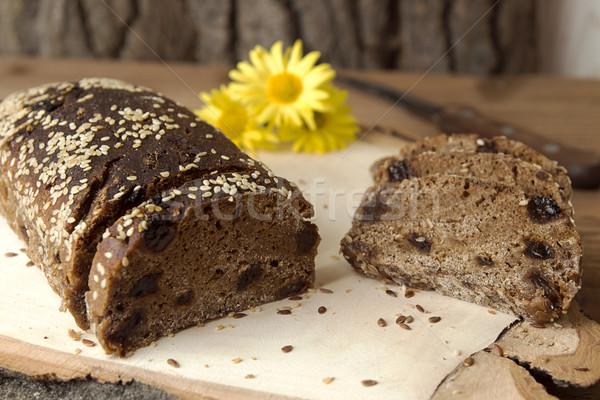 çavdar ekmek maya susam somun dilimleri Stok fotoğraf © user_11056481