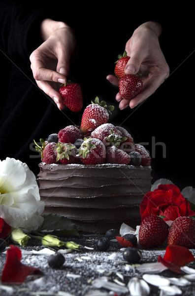 ケーキ チョコレート イチゴ 花 ラズベリー ストックフォト © user_11056481