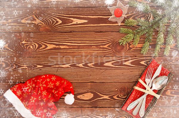 Greeting card for New Year's Eve Dinner. Silverware on wooden ta Stock photo © user_11056481