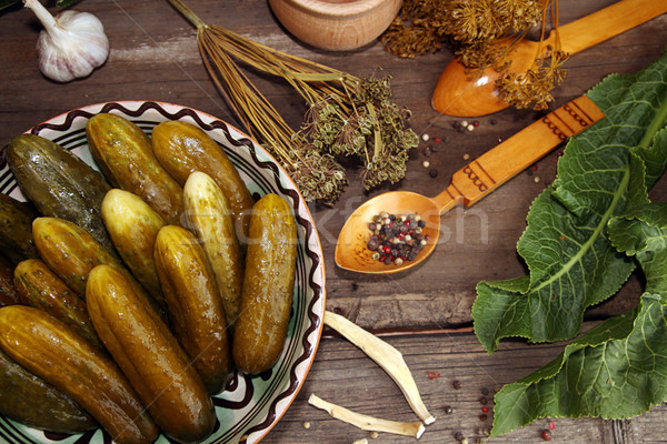 Canned pickled marinated cucumbers Stock photo © user_11056481