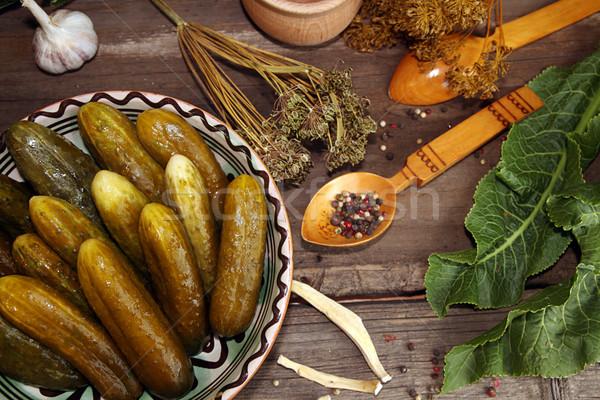 Marine salatalık baharatlar otlar cam Stok fotoğraf © user_11056481