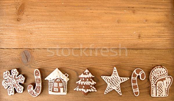 クリスマス ジンジャーブレッド クッキー 古い 木製のテーブル アイシング ストックフォト © user_11056481