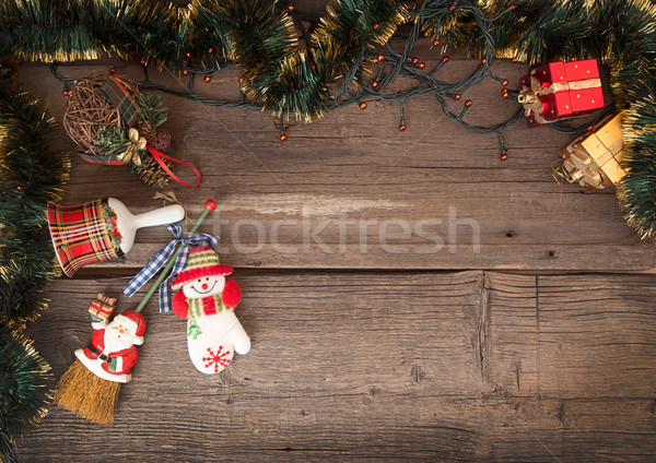 Christmas old wooden background with garland and Christmas decor Stock photo © user_11056481