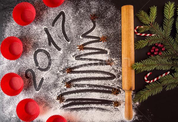 Natale capodanno vacanze testo 20 rosso Foto d'archivio © user_11056481