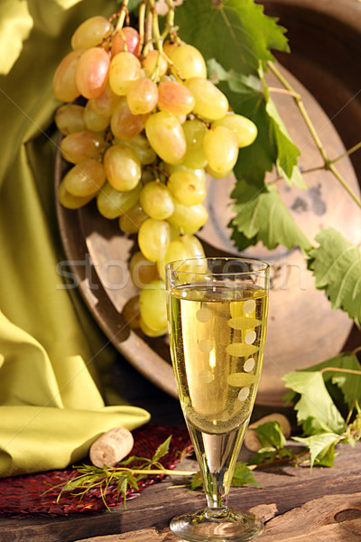 Vintage wine glass against background bunch of grapes  Stock photo © user_11056481