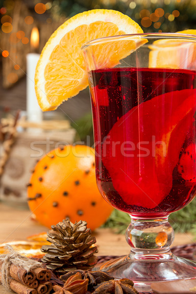 Glass of mulled wine over on wooden table. Stock photo © user_11056481