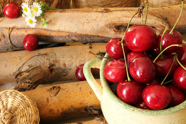 Sweet cherry in ceramic bowl Stock photo © user_11056481