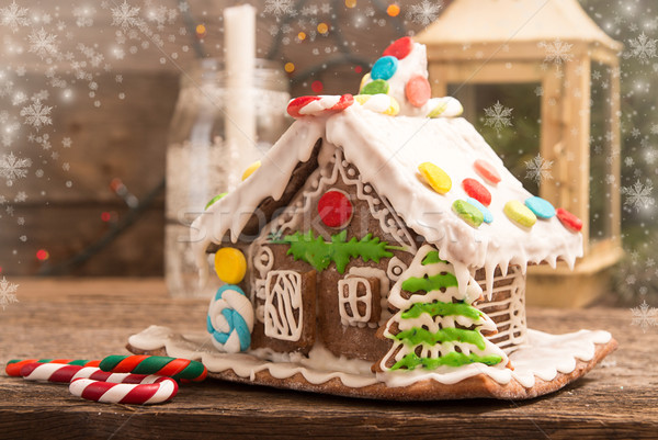 Stock photo: Gingerbread house. European Christmas holiday traditions.