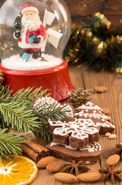 クリスマス ジンジャーブレッド クッキー 球 ガラス 雪 ストックフォト © user_11056481