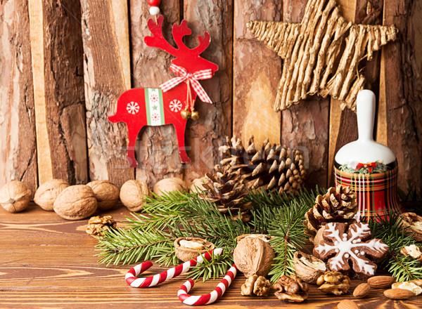 Noel süslemeleri zencefilli çörek kurabiye çan Stok fotoğraf © user_11056481