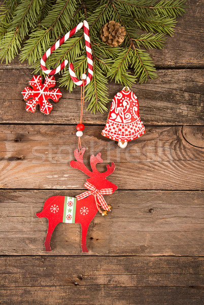 Stock photo: Christmas New Year holiday background with gingerbread cookies
