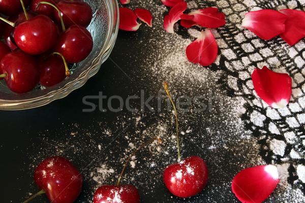 Doce cereja preto desenho glacê açúcar de confeiteiro Foto stock © user_11056481