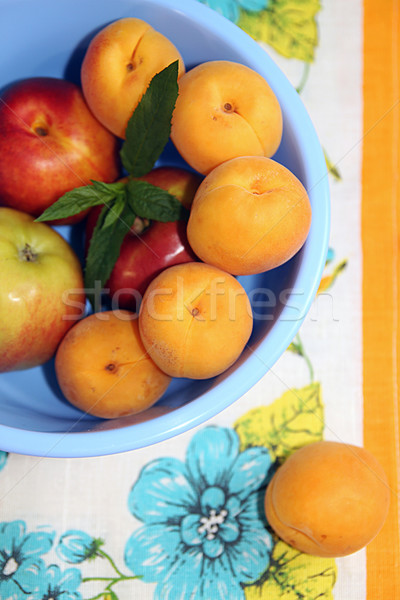 Apricots and apples in blue plastic bowl on napkin. Stock photo © user_11056481
