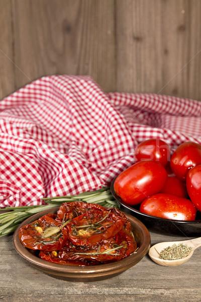 トマト 生 古い 木製のテーブル スパイス ストックフォト © user_11056481