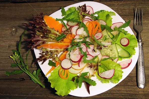 Radijs wortelen komkommer sla salade witte Stockfoto © user_11056481