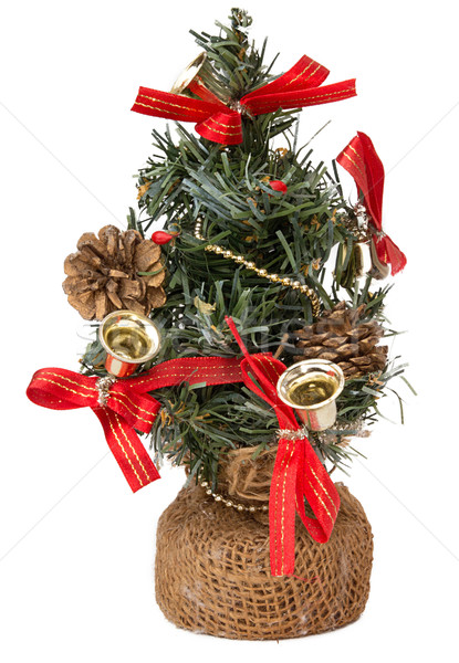 Christmas tree with bells and cones isolated on white background Stock photo © user_11056481