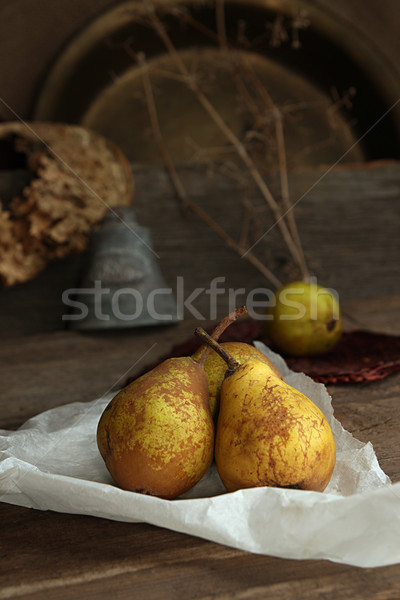 Autumn still life with ripe homegrown pears from rural garden Stock photo © user_11056481